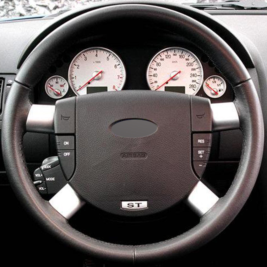 Black Leather Hand-stitched Car Steering Wheel Cover for Ford Mondeo Mk3 2002-2006