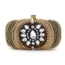 2016 New Arrival Vintage Women Evening Bags Beaded Diamonds Purse Day Clutches Handbags Punk Design Small Wallets