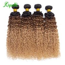 Ombre Kinky Curly Hair Malaysian Human Hair Weave Bundles1b/30/27 NonRemy Hair Extensions Three Tone Blonde Bundles 3 /4 Bundles стоимость