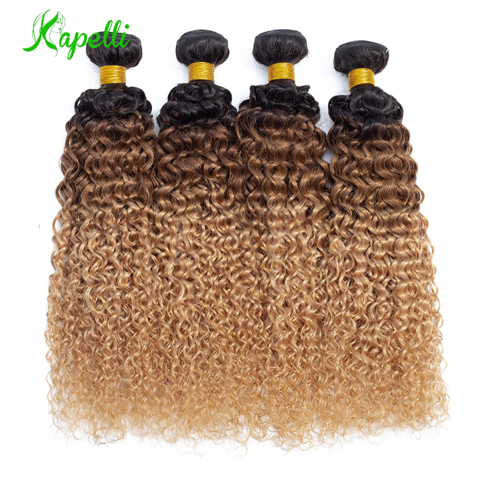 Ombre Kinky Curly Hair Malaysian Human Hair Weave Bundles1b/30/27 NonRemy Hair Extensions Three Tone Blonde Bundles 3 /4 Bundles