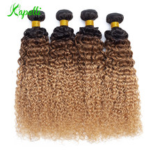 Ombre Kinky Curly Hair Malaysian Human Hair Weave Bundles1b/30/27 Remy Hair Extensions Three Tone Blonde Bundles 1/3 /4 Bundles(China)