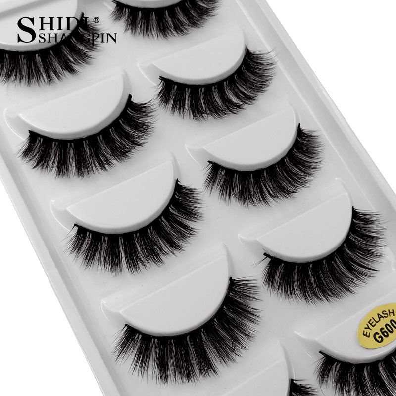 SHIDISHANGPIN 5 Pairs 3d Mink Lashes Hand Made Makeup False Eyelash Natural Long Eyelashes Mink Makeup Full Strip Lashes Cilios