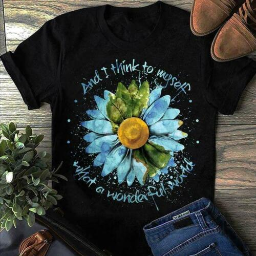 Sunflower Hippie World What A Wonderful World Men Black T Shirt Cotton S-6XLCool Casual pride t shirt men Unisex Fashion tshirt