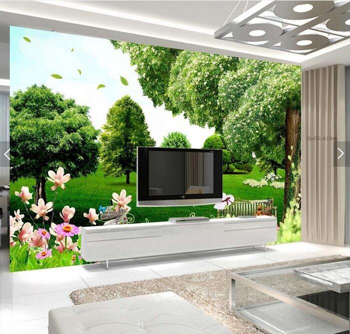 ᐅFantasy pradera hojas grandes murales 3D wallpaper salón