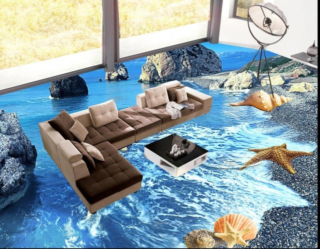 Modernes Badezimmer 3d Boden Ozean Welt Tapeten 3d Boden Wasserdicht  Selbstklebend Pvc Bodenbelag Tapete