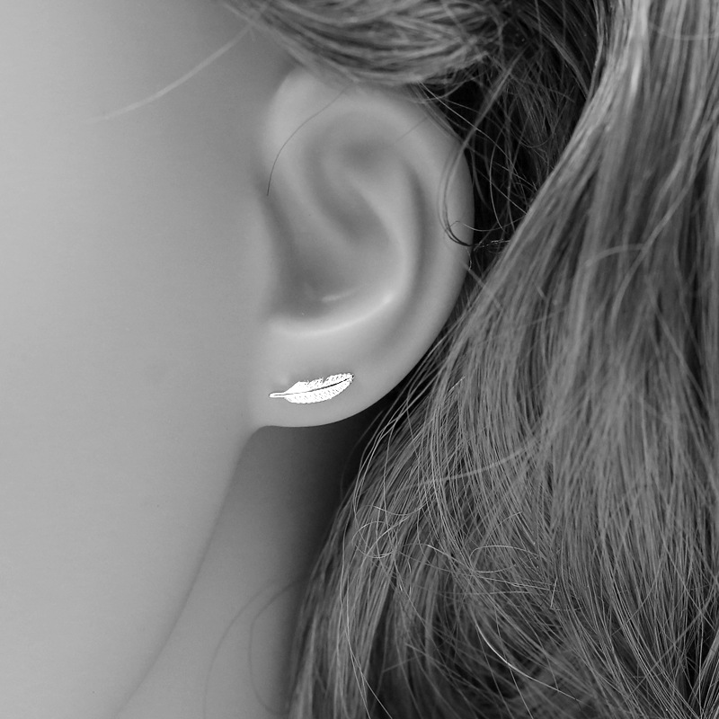 Real 925 Sterling Silver Feather Stud Earrings for Women Girls 2017 sterling-silver-jewelry brincos oorbellen aros de plata 925
