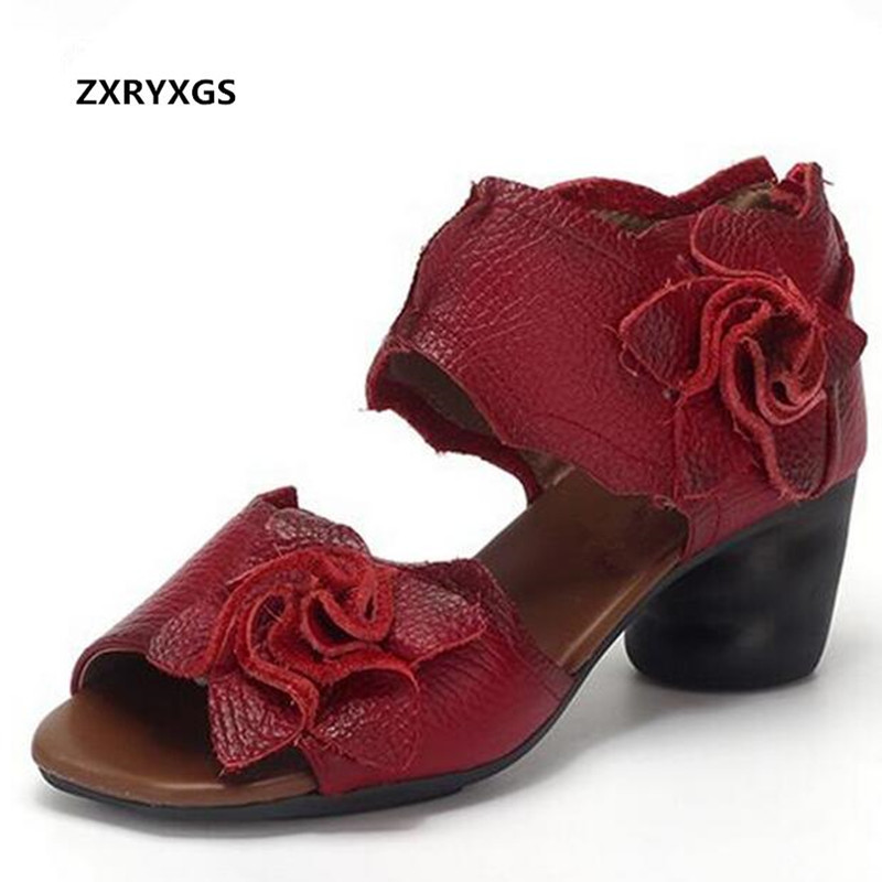 ZXRYXGS Brand Shoes Summer Women Sandals Fashion Shoes 2018 Open Toe Flowers Cow Leather Sandals Thick Heel Women Shoes Sandals fashion thick sole platform real cow leather upper pigskin liner women 2017 summer flat heel sandals lady opentoe flats shoes