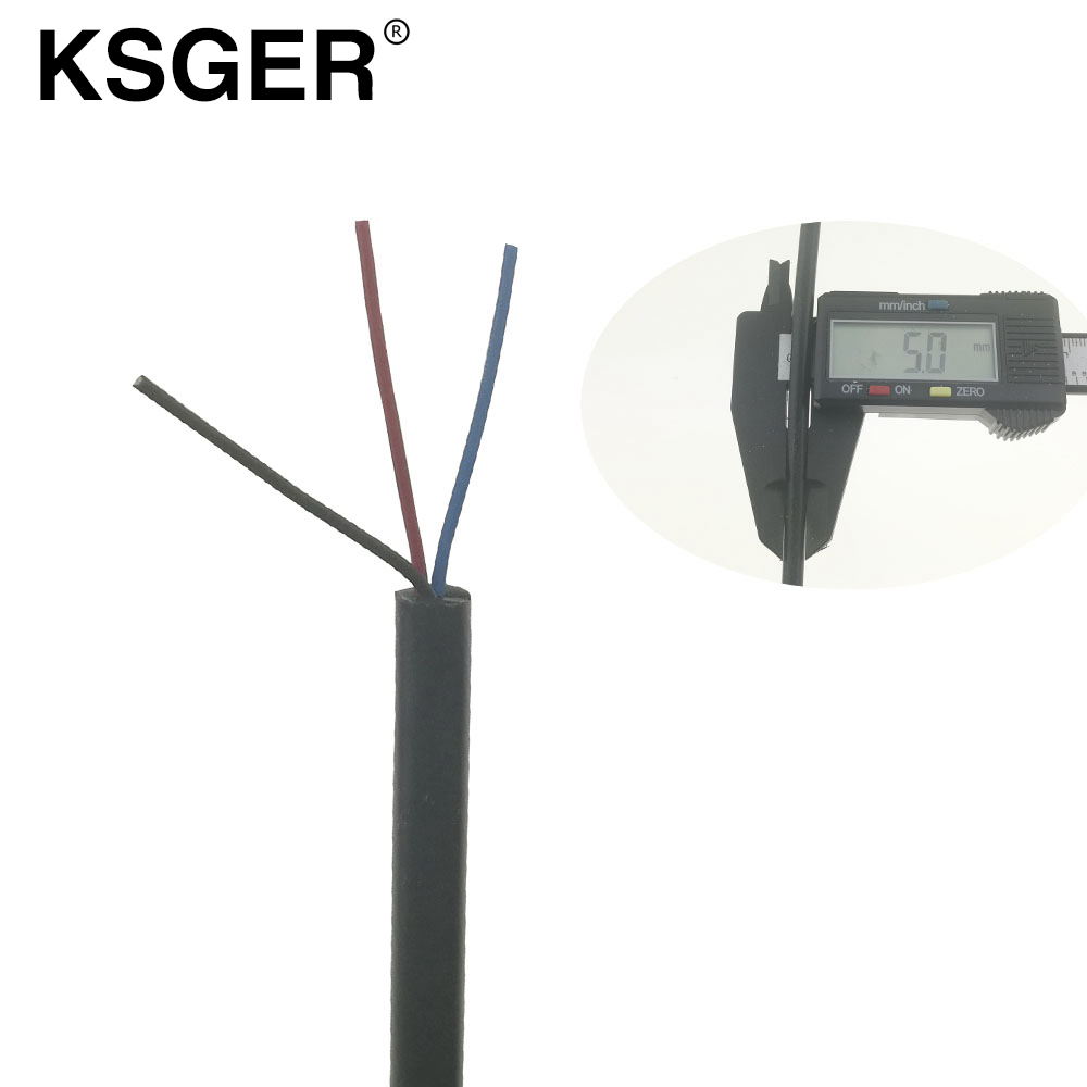 KSGER Soft Black Three 3 Core Silicone  Wire For T12 Electric Soldering Irons 9501 2028 Soldering Handle 5mm