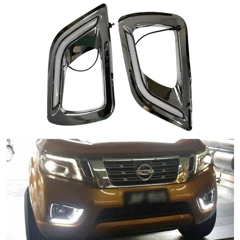 цена на Car Flashing LED Daytime Running Light day lights for Nissan Navara NP300 2015-2017 drl chrome fog lamp cover turning lights
