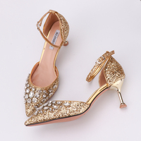 Woman Sandals Gold Fashion Sequins Buckle Strap Comfortable High Heels Crystal Bling 10cm 6cm Heel Princess Shoes Luxury Design