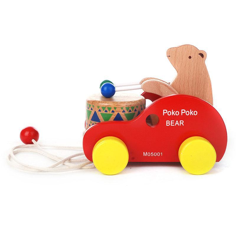 Медведь Барабаны деревянные развивающие игрушки перетащите игрушечный автомобиль дети Дети День рождения рождественских подарков Высоко...