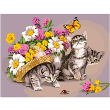 WEEN Cats and flower-Abstract Picture,DIY Painting By Numbers,Acrylic Paint, Hand-painted Canvas Oil Painting,Wall art picture