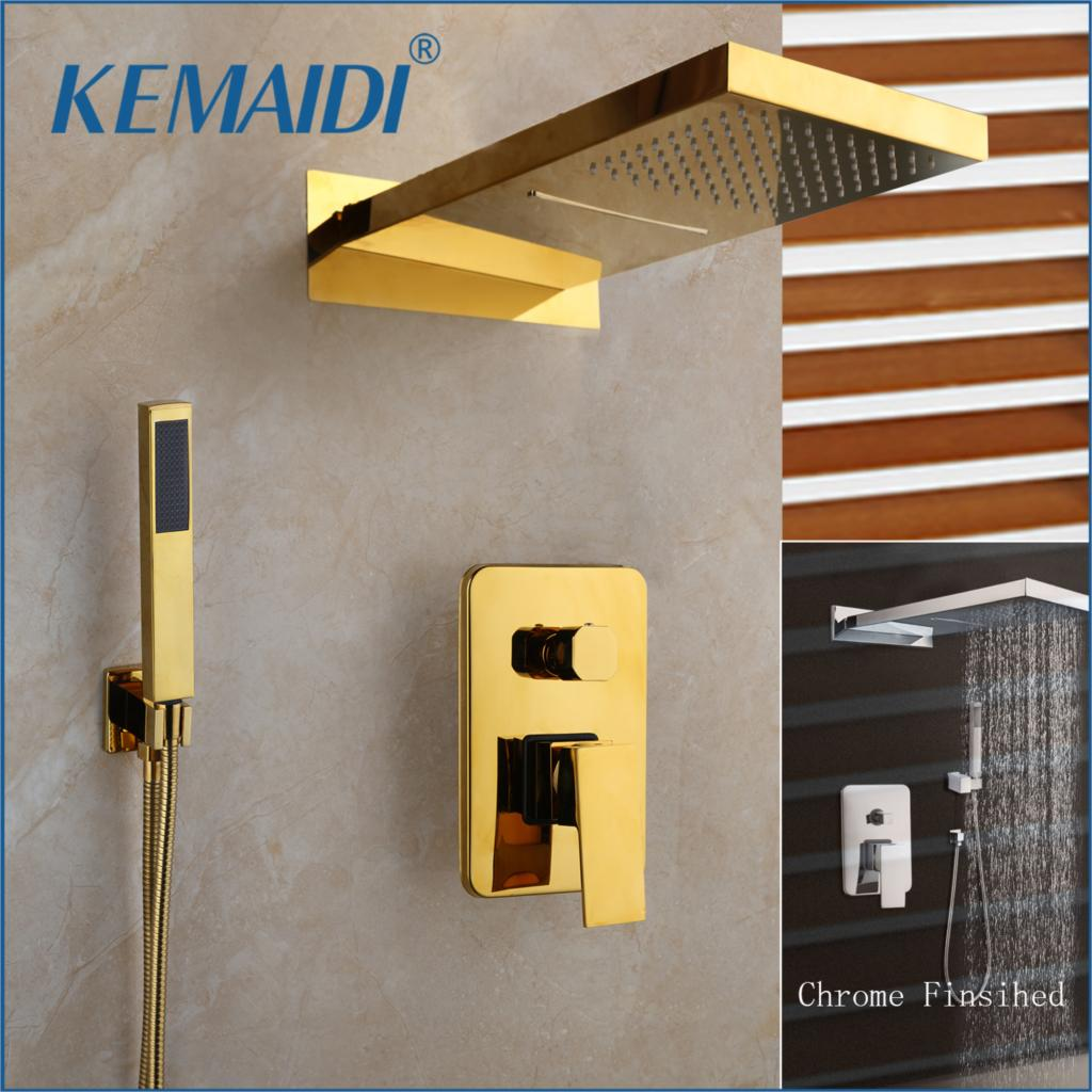 KEMAIDI Chrome Golden Plated Bathroom Shower Hand 2 Functions Shower Mixer Bathroom Solid Brass Rainfall Waterfall