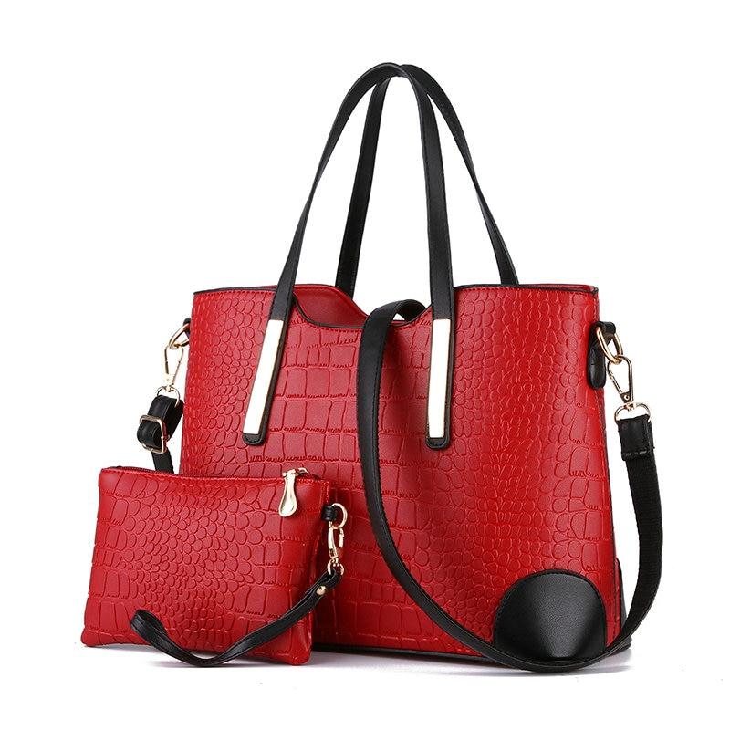 Luxury Famous Brand Women Bag Top-Handle Bags 2017 Brand Designer Women Messenger Bags Handbag Set PU Leather Composite Bag