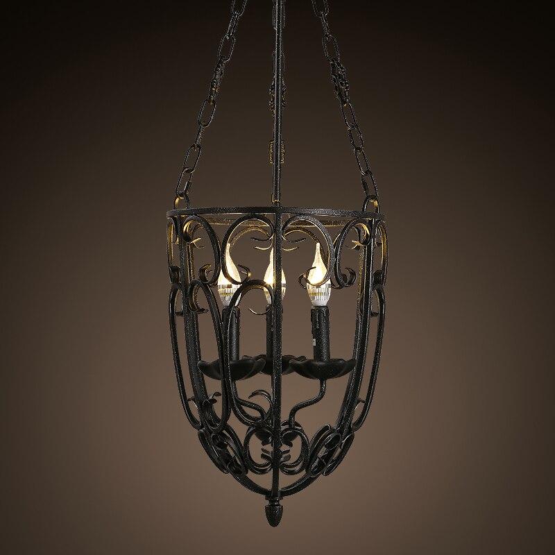 Style américain rétro noir fer bougie pendentif lumière bar éclairage occidental salon décoration café pendentif lampes Z116657