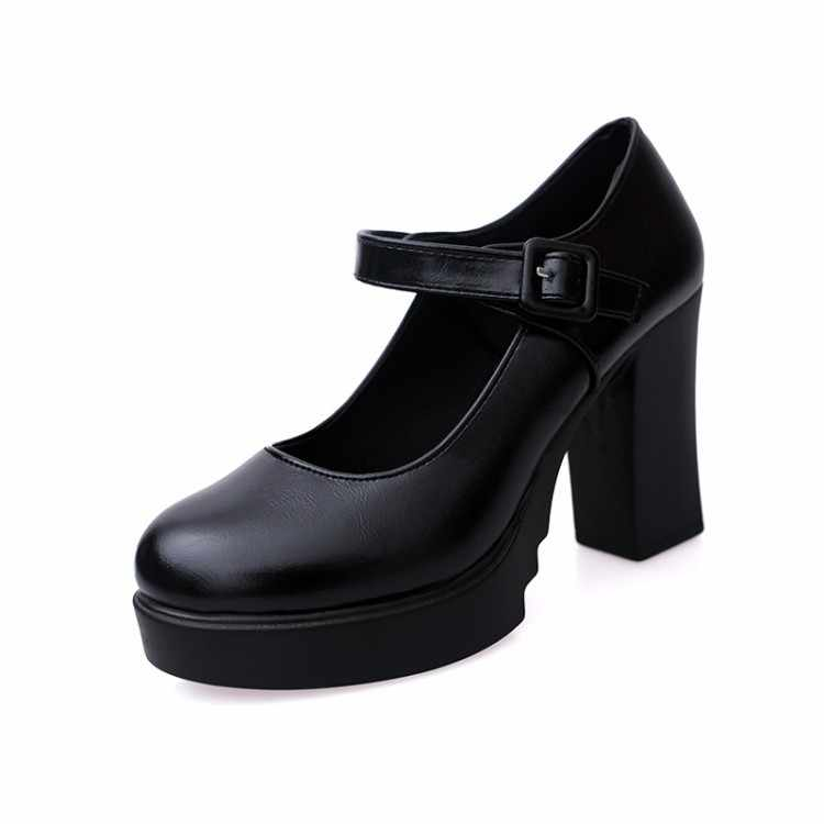 Women Casual Pumps Party Shoes Sexy Breathable PU Leather Work Round Toe Buckle Non-Slip 9.5CM Thick Heel Wedding Female Shoes