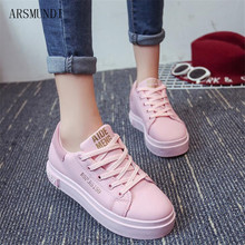 ARSMUNDI 2018 Spring autumn new fashion sneakers ladies color matching lace letters casual shoes platform black pink M55