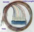 12 Colores LC/UPC-0.9mm-PVC-SM (G652D)-1.2 m/Pigtail De Fibra Óptica