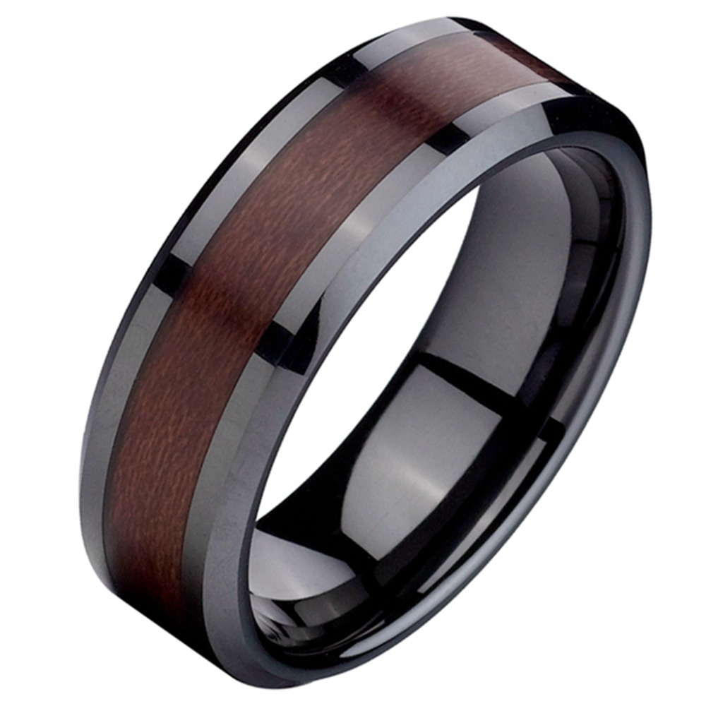 men 8mm size 7 15 black red wood inlay ceramic ring wedding engagement cocktail anniversary - Wooden Wedding Rings For Men