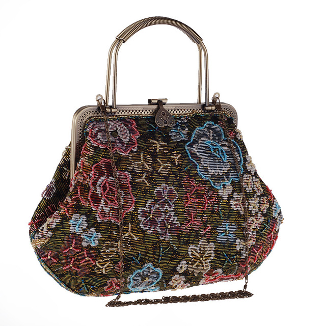Vintage Style Embroidery Women Messenger Soft Bag With Handle Printed Floral Evening Bag Shell Shaped Day Clutches Bag