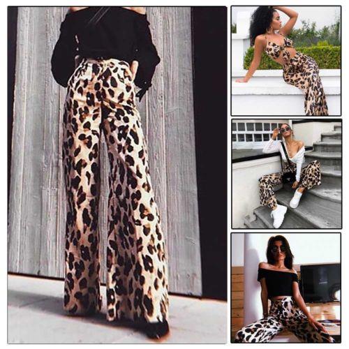Pantalones holgados largos de pierna ancha de leopardo vendaje de cintura alta Casual de otoño para mujer