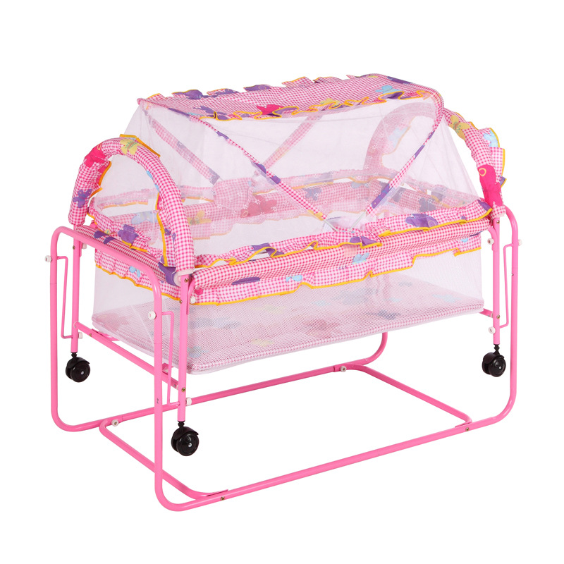 Multi-function Metal Baby Crib Bed Cot Baby Playpen Bed Baby Crib Trolley Swing Bed with Roller Mosquito Net Newborn Crib 1~12M цена
