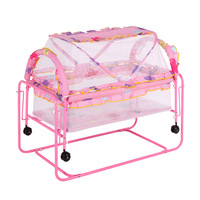 Multi function Metal Baby Crib Bed Cot Baby Playpen Bed Baby Crib Trolley Swing Bed with Roller Mosquito Net Newborn Crib 1~12M