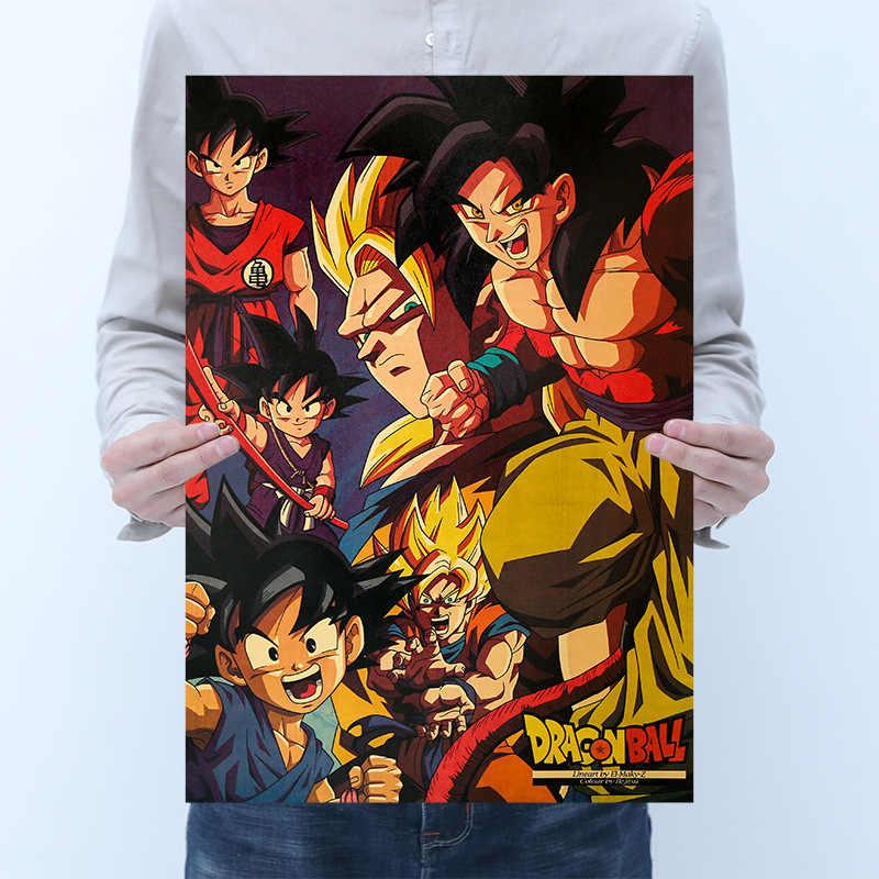 Cartaz Anime goku de Dragon ball z Figura de Ação quente Retro Kraft Adesivo De Impressão Do Vintage Cartazes Bar Decoração Brinquedo Bola Dragão para As Crianças