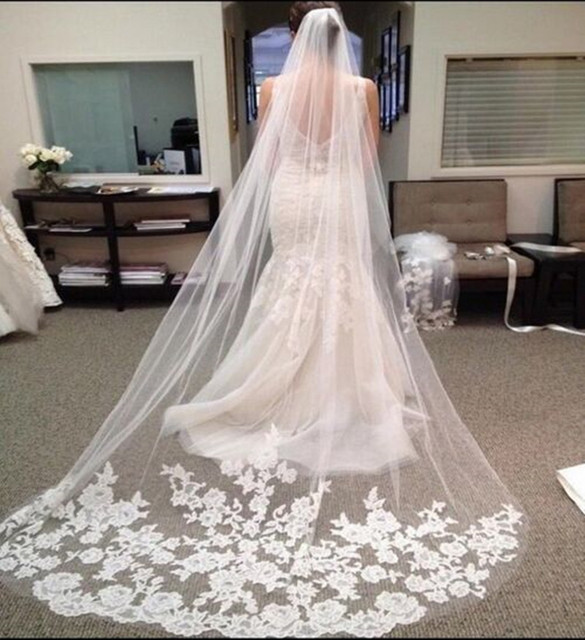 White/Ivory Wedding Veil With Comb Lace Mantilla Bridal Veil veu de noiva longo Wedding Decoration Wedding Accessories