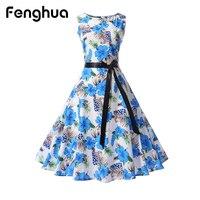 Fenghua Women Summer Autumn Dress 2017 Vintage Audrey Hepburn Ball Gown Dress Elegant Sleeveless Floral Print
