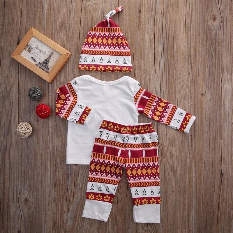 Рождество для новорожденных комплект одежды для маленьких девочек и мальчиков хлопковая футболка с длинными рукавами + штаны с цветочным п...