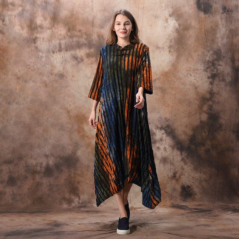 Johnature Striped Dress Women Spring Clothing Vintage Irregular Cheongsam 2019 New Stand Seven Sleeve Button A