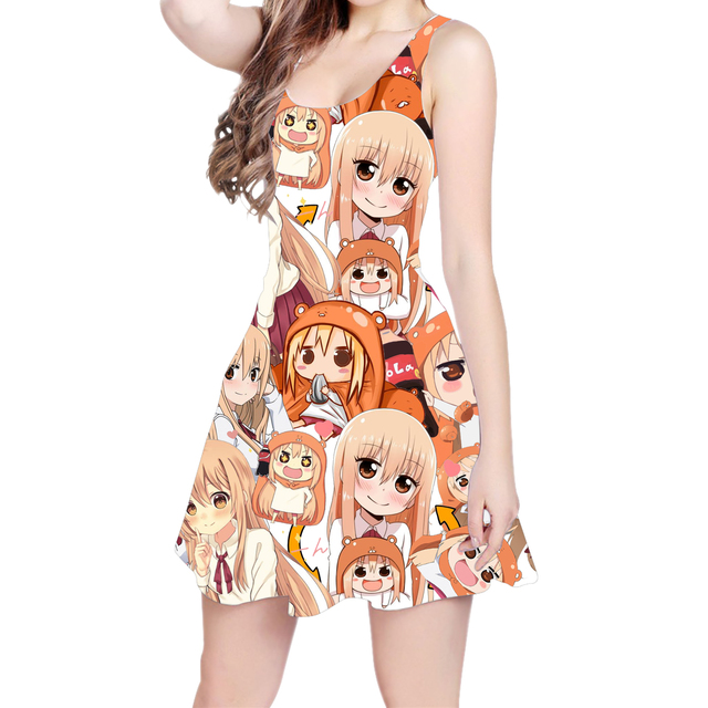 fecf4c388b231 Anime Himouto Umaru-chan Aqua And Megumin 3D All Over Print Skater Dress  Hipster Fashion