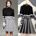 2017 Spring Two-piece Set Women's Clothing Fashion Batwing Sleeve Pinch Waist Knitted Sweater + Woollen A-line Skirt Suit