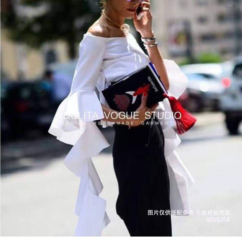 de alta calidad de la manera camisa runway mujeres hombro blanco Blusas y Camis