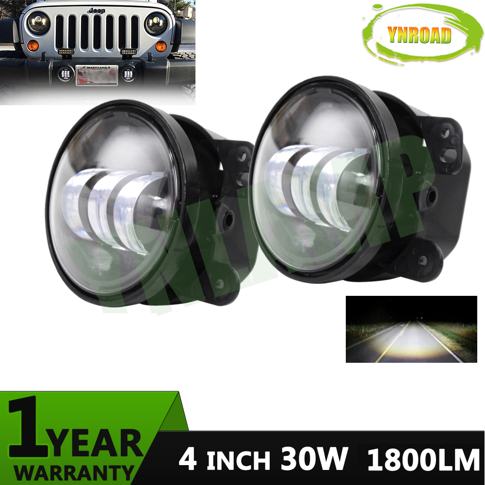 YNROAD ONE PAIR 4 INCH 30W  LED FOG LIGHT FOR  LED WORK LIGHT FOR  JEEP TRUCK BOAT MILITARY one pair 1 inch 25mm 8mm steel bleed