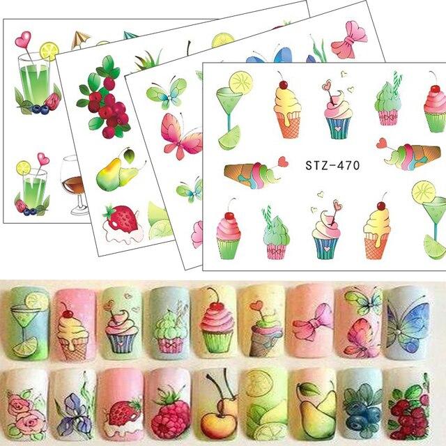 1pcs Nail Sticker Water Tattoos Summer Ice Cream/Drink/Fruit/Flower/Butterfly DIY Decals for Nail Art Cool Decor STZ470-473