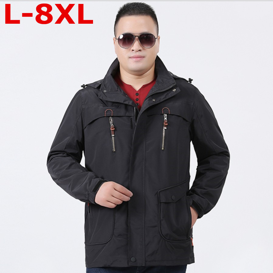 new Plus size 8XL 7XL 6XL 5XL Mens Jackets Waterproof Spring Hooded Coats Men Outerwear Army Solid Casual Brand Male Clothing