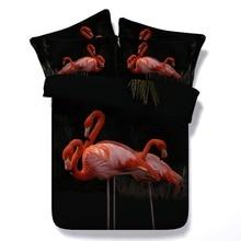 6 Parts Per Set Bed Sheet Set Graceful Flamingos at Night 3d Bedding Set