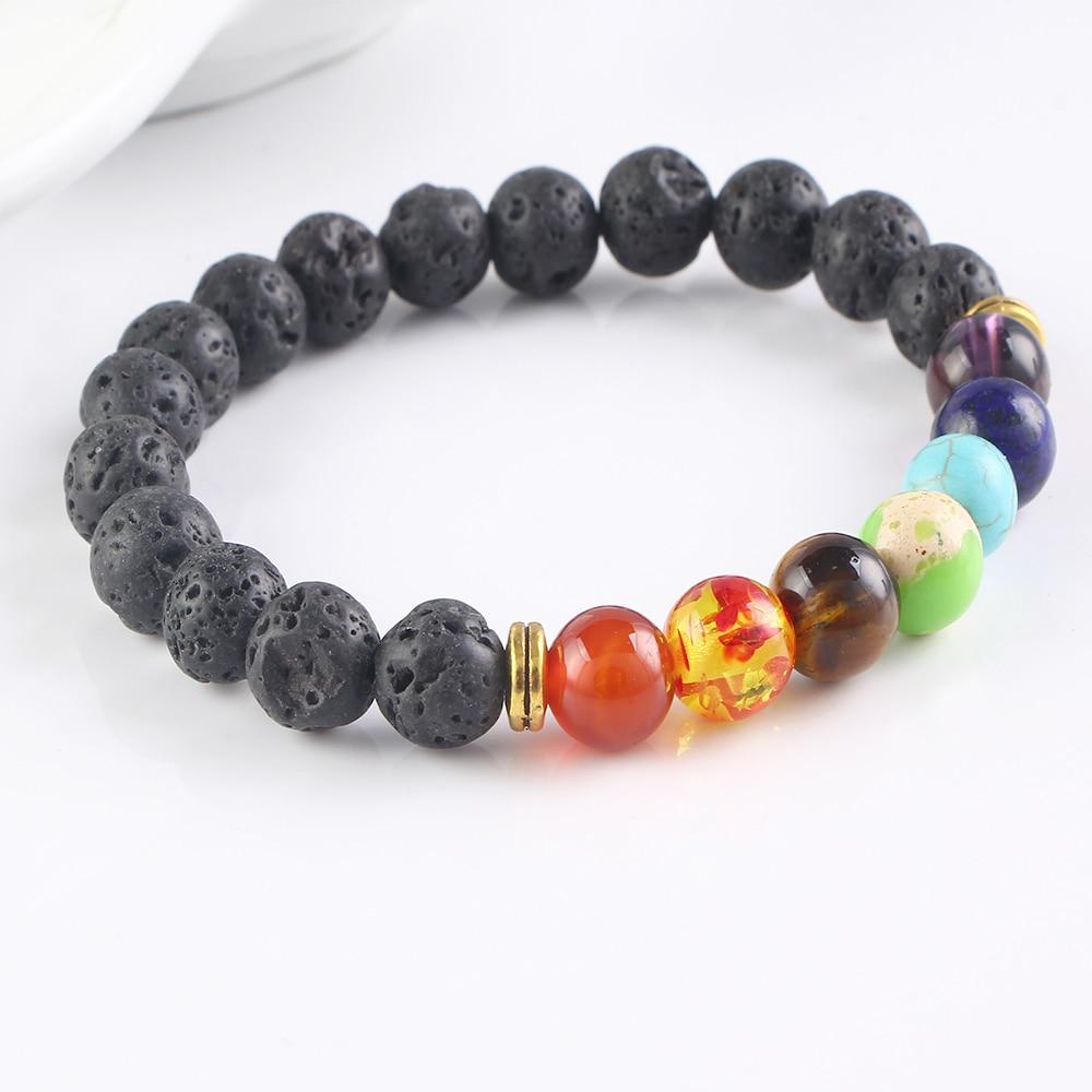 F&U Natural Stone Bracelet Men Black Lava Healing Balance Beads Reiki Buddha Prayer Fashion For Women