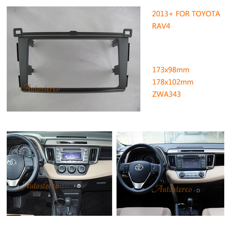 11-343 Car Radio Fascia multimedia Frame Kit For TOYOTA RAV4 2013+ Facia Panel Trim Dash CD 2 Double Din Audio Bezel dash Mount seicane exquisite 202 102 double din car radio fascia for 2009 2013 toyota avensis dvd frame in dash mount kit trim bezel