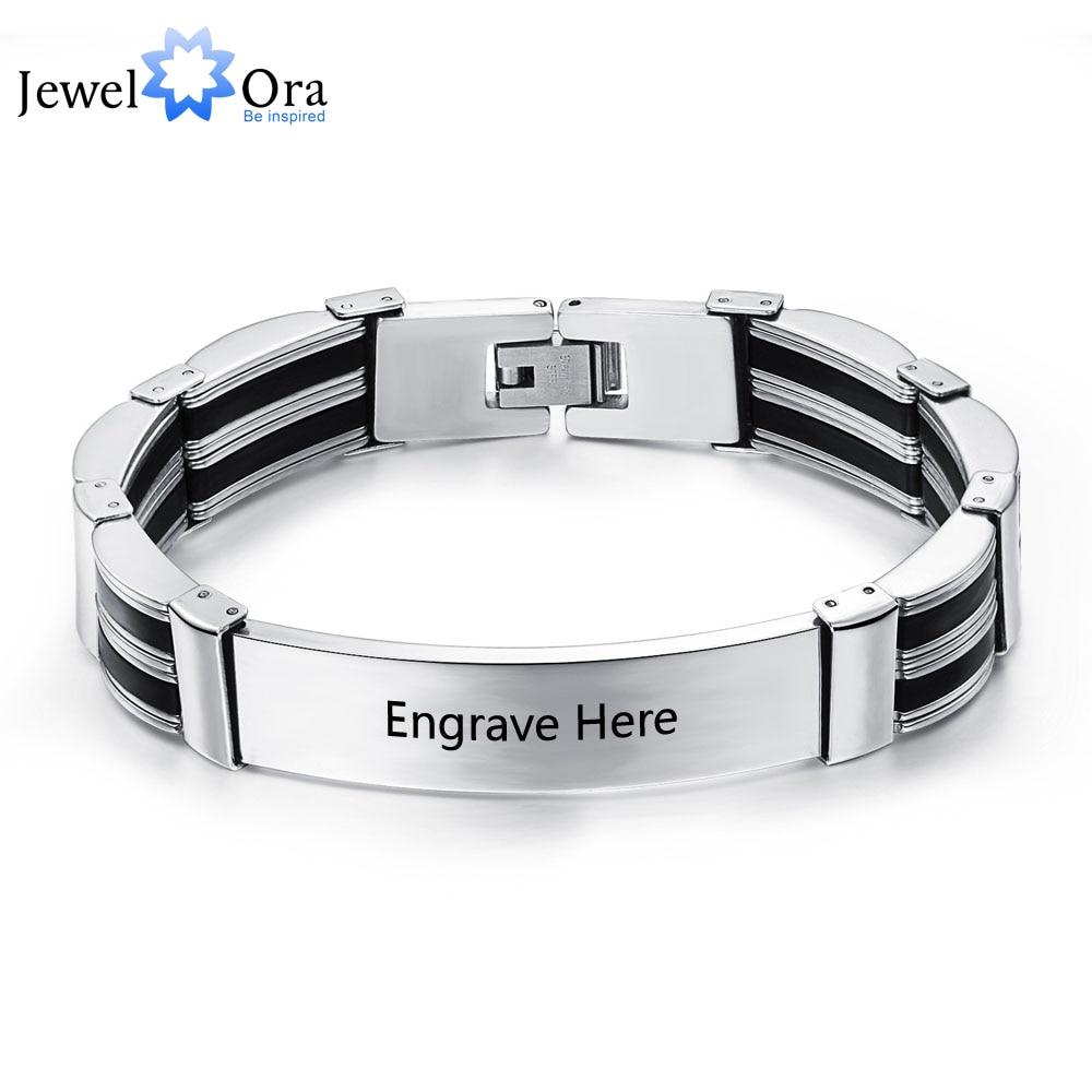 Titanium Steel Personalized Engrave Bracelets For Men Customization Text  205mm Length Bracelets & Bangles (jewelora
