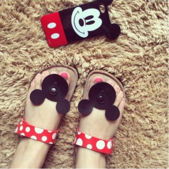 2014 New South Korea Cute Cartoon Mickey Minnie Mouse Dot Comfortable Summer Cool Flip-Flops Women Cork Slippers the new spring and summer ms south korea ensure their boots comfortable show female water thin antiskid tall canister shoe