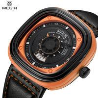 Megir Square Dial Mens Watches Top Brand Luxury Black Leather Strap Quartz Watches Fashion Wristwatches With