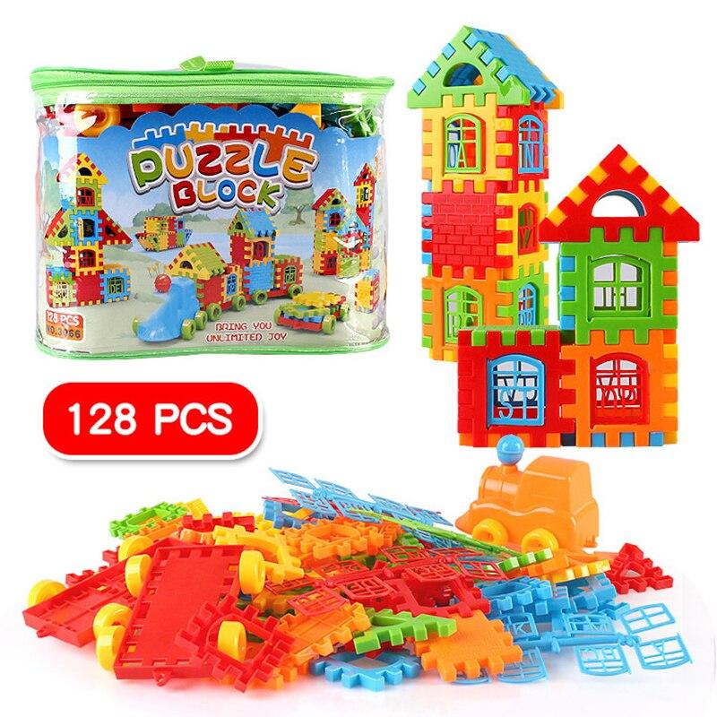 128 Stks Trein Bouwstenen Huis Bouwstenen Baby Leren Educatief Speelgoed Bouw Bricks Speelgoed Voor Kinderen Gift