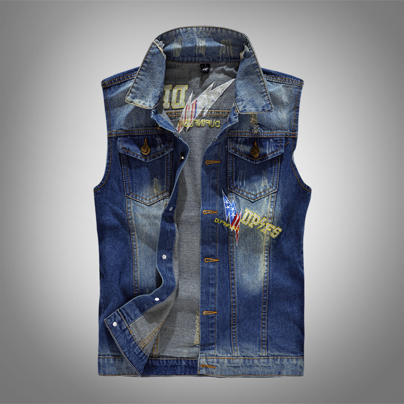 Embroidery Denim   Tank     Tops   Men Jeans Vest Casual Hip Hop Solid Color Slim Fit   Tank   2018 Fashion Streetwear Clothes for Male S044