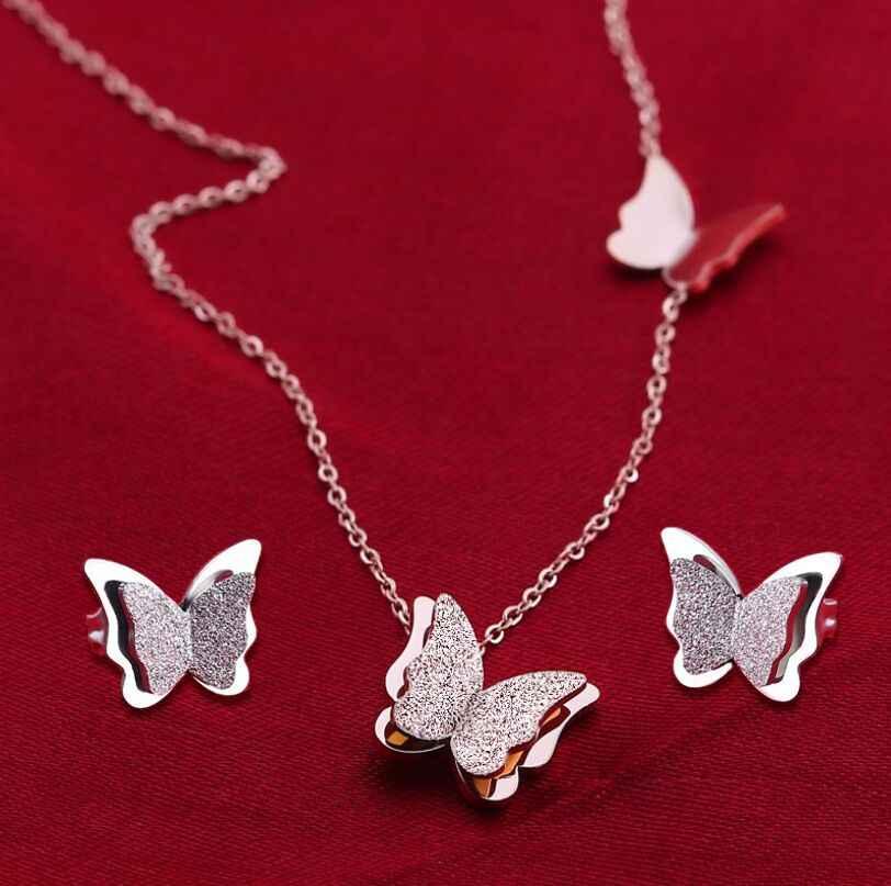 Yiustar élégant papillon bijoux ensembles pour femmes Collier/boucles d'oreilles en acier inoxydable boucles d'oreilles papillon Collier Femme Brincos
