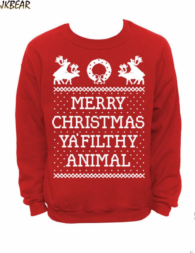 funny matching ugly christmas t shirts for couples merry christmas ya filthy animal print