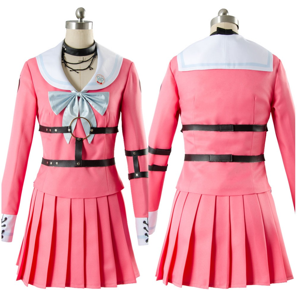 Danganronpa V3: Killing Harmony-Iruma Miu Cosplay Costume Adult Girl Pink Dress Uniform Halloween Carnival Costume Custom Made