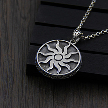 JINSE The Wheel of Sun Pendant S925 Sterling Silver Round Woman New Arrival Shape Party Necklace & 34*38MM